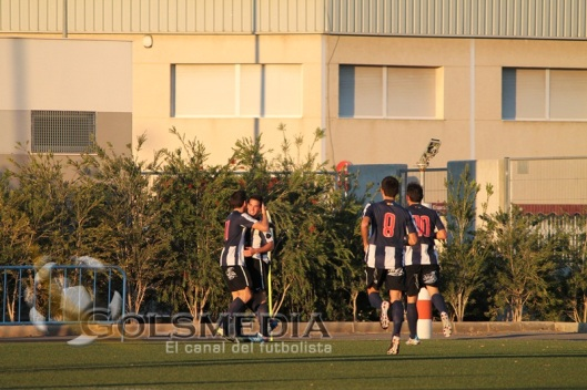 Celebración de un gol. Hércules B-Albatera. Temporada 2012-2013. Fuente: Golsmedia.